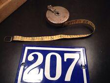 Vtg Walsco Mechanic's Pal 25 Feet Cloth Tape Measure Metal Steel Case Old Tools