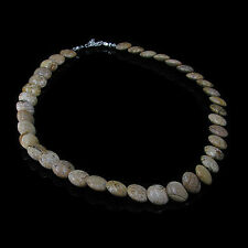 .925 Sterling Silver Natural Brown Picture Jasper Disc Saucer Necklace