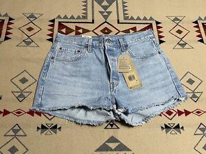 Levis 501 Shorts 29 Womens Hi-Rise Denim Jean Button Fly Raw Hem Distress NWT C9