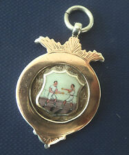 EARLY  Stg. Silver , Gold & Enamel Boxing / Boxers Medal h/m 1908 - not engraved
