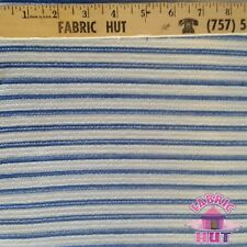 Jersey Knit Polyester Poly Spandex Grey & Blue Stripe Fabric by the Yard