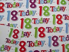 2 SHEETS TEENAGE 18, 18th WRAPPING PAPER, GOOD QUALITY, VALUE  (101)