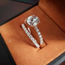 Certified 2.5CT White Round Diamond Engagement & Wedding 14K White Gold Ring Set