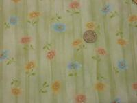 Quilting Fabric Orange Pink Blue Flowers Pale Green BG 100% Cotton Fat Quarter