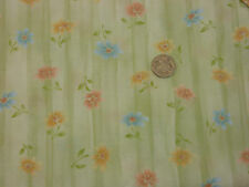 Quilting Fabric Orange Pink Blue Flowers Pale Green BG 100% Cotton Fat Quarter