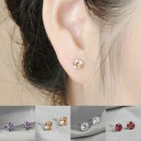 Women 925 Plated Silver Plated Zircon Crystal Ear Fashion Jewelry Stud Earrings