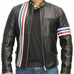 Classic Peter Fonda leather Jacket Easy Rider Black Cowhide Motorcycle Biker