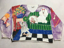 Kolorway Vtg 1 XL Hand Painted Puppy Dog Sweater Art To Wear Pullover READ FLAW