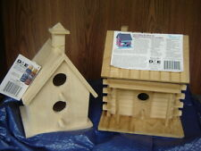 """(2) Two """"Finish It"""" Wooden Bird Houses by Don Mechanic Log Cabin and Church New"""