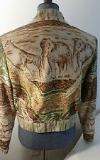HOWARD WOLF CROP SHOULDER PADs JACKET SZ 8 Fringe VTG 80s ELEPHANTS GIRAFFE
