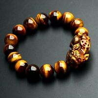 Feng Shui 12mm Yellow Tiger's Eye Stone Pi Yao /Pi Xiu Bracelet For Wealth Luck