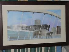 Lowry Salford Quays Collage Mixed Media Layered Paper with papers and textiles