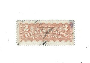 Canada 1875 Registration Stamp #F1 2c orange  Used  F/VF