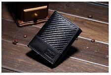 NEW MEN WALLET Genuine Saffiano Leather & Fiber Carbon Men's Wallet with RFID
