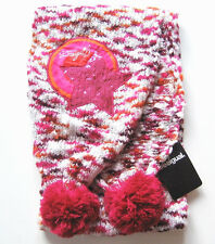 Strick Schal Desigual NEU 160cm rot pink orange Bommel Stern kinder winter WSV