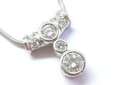 Fein Rund Diamant Lünette Set Weiß Gold Anhänger Halskette 14KT .62Ct 45.7cm