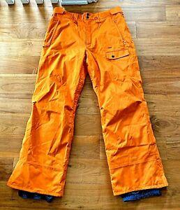 Mens Foursquare Sz Large Pants Snowboarding Ski Outerwear Orange Pockets Lined