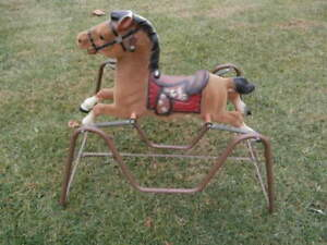 Vintage Spring Bouncy Rocking Horse Hobby Toddler Toy Cowboy