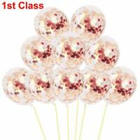 "12"" Confetti Latex Balloons Rose Gold Helium Birthday Wedding Hen Party KY"