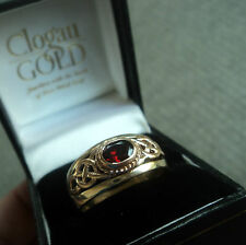 Welsh 9ct Clogau Yellow & Rose Gold Garnet Celtic Ring h/m 1993 - size X / Y