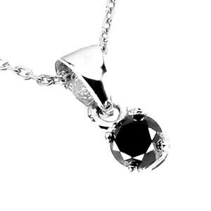 0.33ct Round Brilliant Cut AAA Black Diamond 4mm 925 Sterling Silver Necklace 18