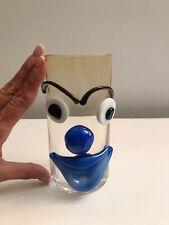 "Hand Blown Art Glass Blue Clown Face Tumbler Glass Arte Murano ICET Vintage 7"""