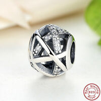 Authentic Genuine 925 Sterling Silver Sparkling Openwork Clear CZ Charm bead