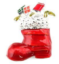 Zest Christmas Stocking de peluche lleno de presenta Broche Rojo