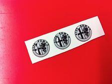 3 Adesivi Resinati Sticker 3D ALFA ROMEO 10 mm white & black