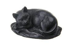 Decorative Stone Figurine / Statue Lying Cat 3.9'' black