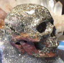 Genuine OCEAN JASPER Crystal Skull! Realistic Skull Carving. Carved Quartz Skull