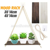 Wooden Wall Storage Rack Rope Hanging Plants Flowers Pot Shelf Holder For Home