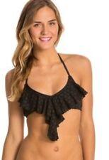 ROXY Bikini Top Sz M Black Flutter Tirangle Flounce Swimwear Swim Top Arjx303014