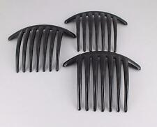 "3 Black hair comb plastic 4"" wide hair accessory side clip 7 long teeth"