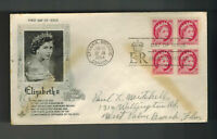 1954 Canada FDC to USA first day cover QE 2 Queen Elizabeth II Block of 4 3 cent