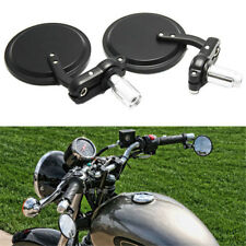 "Black Motorcycle Round 7/8"" Bar End Rearview Side Mirrors For Bobber Cafe Racer"
