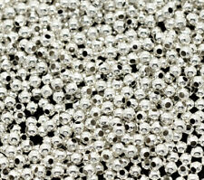 3000Pcs Silver Plated Smooth Round Ball Loose Spacer Beads Jewelry Findings New