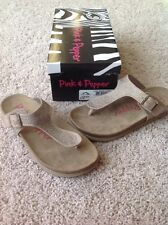 Pink and Pepper CRISP Rhinestone Sandals Light Brown Fabric Size 6