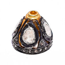 Beads 925 Sterling Silver Beads Rose cut Diamond Beads Pave Diamond