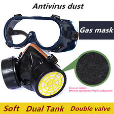Dual Anti Dust Spray Paint Industrial Chemical Gas Respirator Mask Glasses Safe