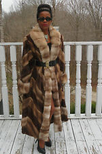 NEW designer full length female pelts Mink& Sable Stone marten fur Coat M-L 8-14