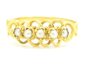 Beautiful Victorian 15ct Gold Pearl 5 Stone Ring