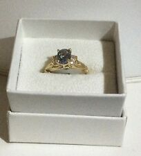 Ladies  sz. 7  14k YELLOW GOLD MARCH BIRTHSTONE RING with 4 side CZ STONES