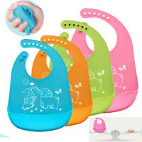 Silicone Waterproof Baby Soft Bibs Feeding bib Kids Roll up Food Catcher Pocket