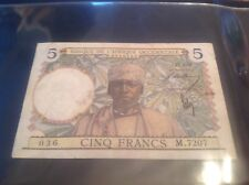 Francia 5 Francos Africa Occidental Billete de fecha 1939