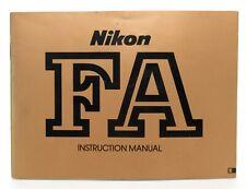Genuine Nikon Fa Instruction Manual! Excellent Condition!