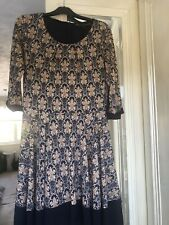 Ladies Navy Paisley Style Skater Dress  , Sz 8  , Lined , Stunning