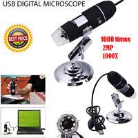 USB Microscope Endoscope 1000X 2MP 8LED Digital Magnifier Camera Black UK Stock