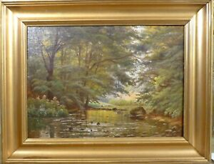 ALFRED JACOBSEN! FOREST LANDSCAPE WITH STREAM