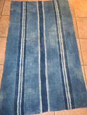 """Vintage African,Dogon Indigo Resist Dyed Fabric/Hand Woven Cotton Strips/58""""x34"""""""